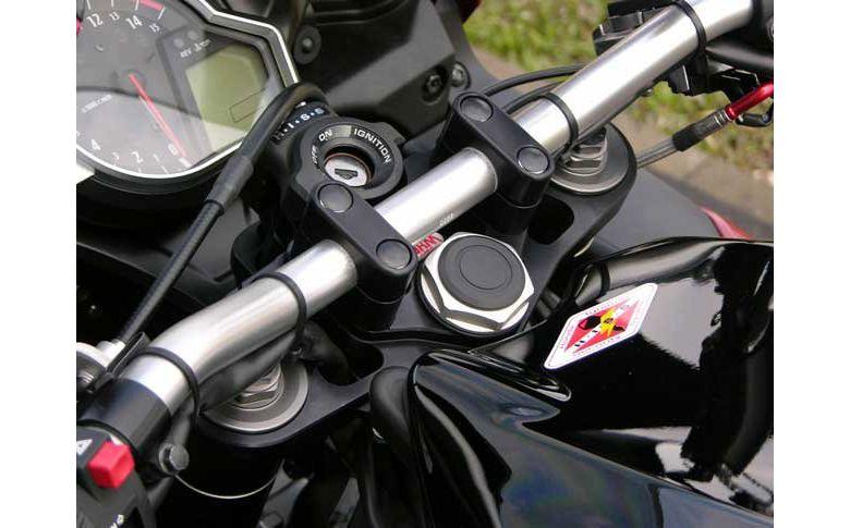 Superbikestuurombouw kroonplaat zwart