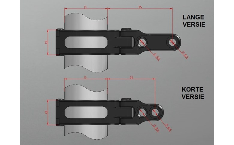Koplampbeugels zwart lang 57/58mm - ABM